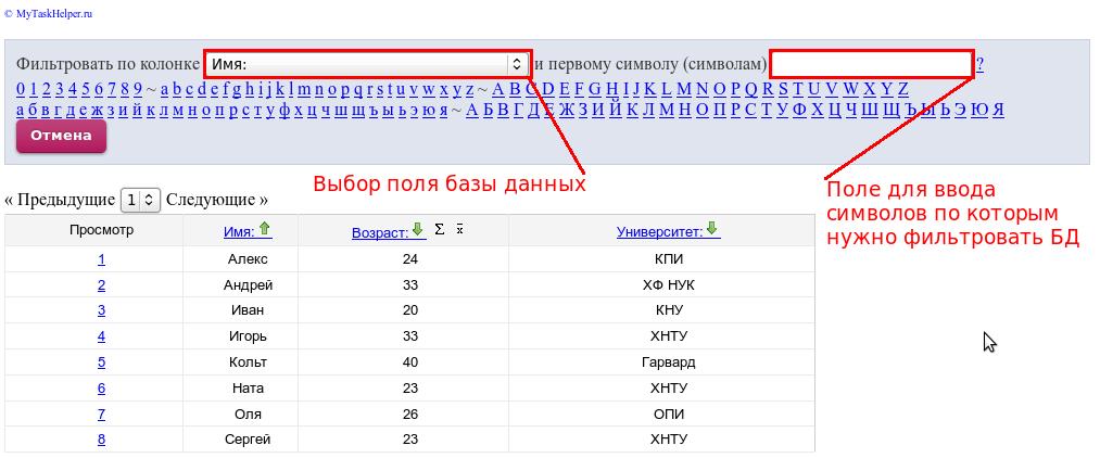 фильтрация записей в виджете базы данных
