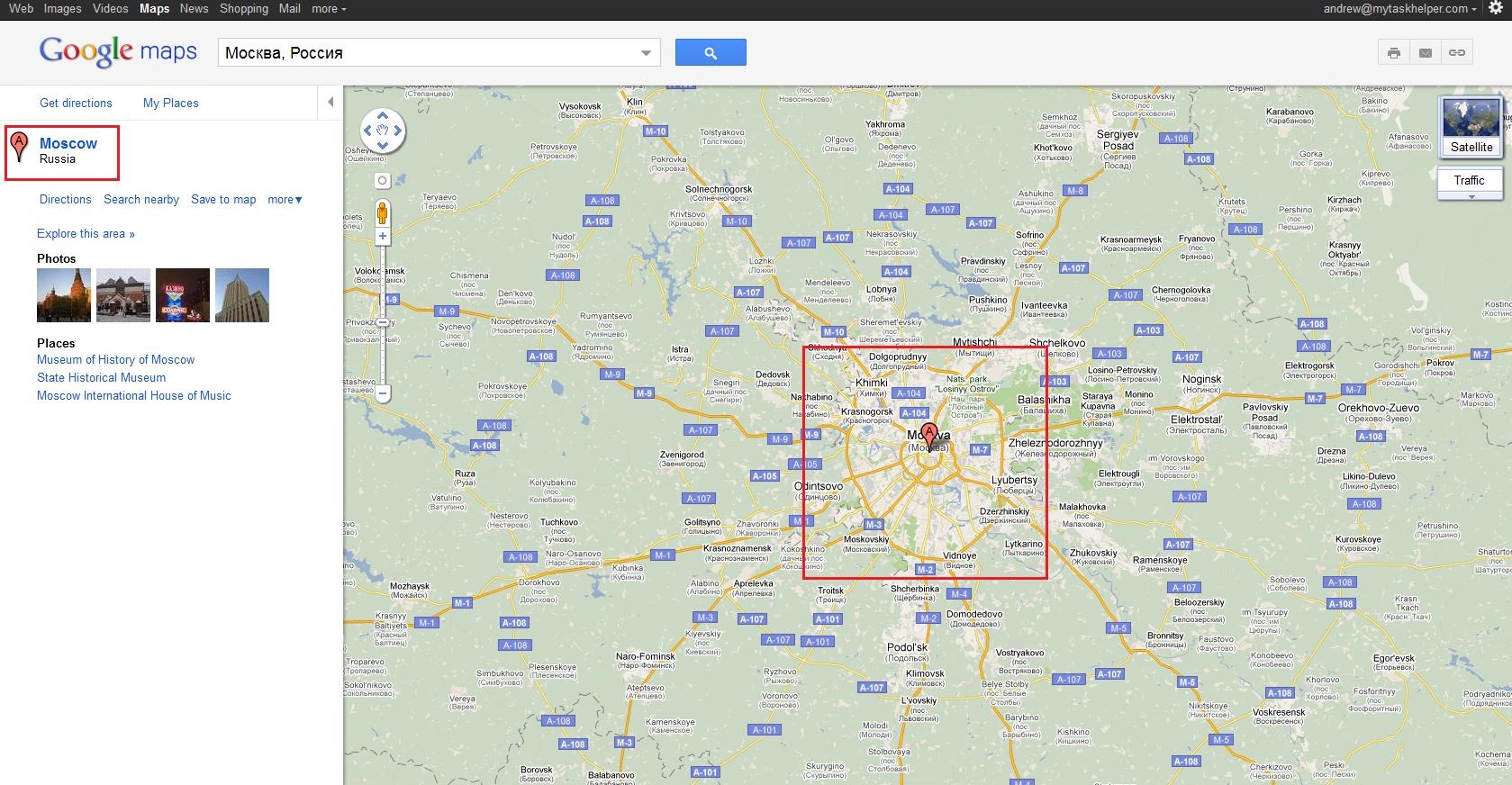 Объекты на карте Google