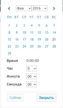 Поле Дата и время