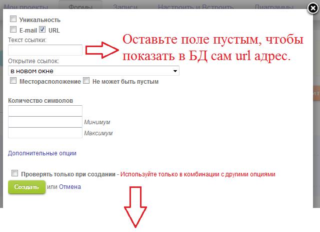 Опции для url поля