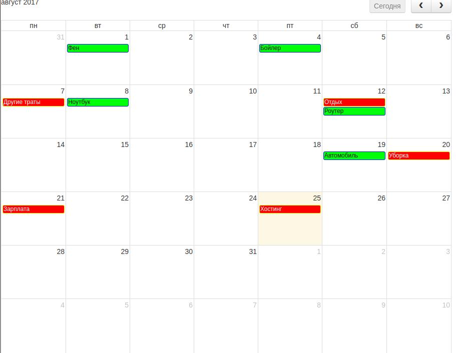 Календарь Расходов и Доходов