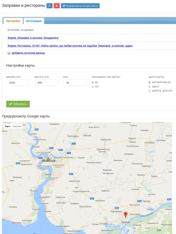 Карта с источниками данных